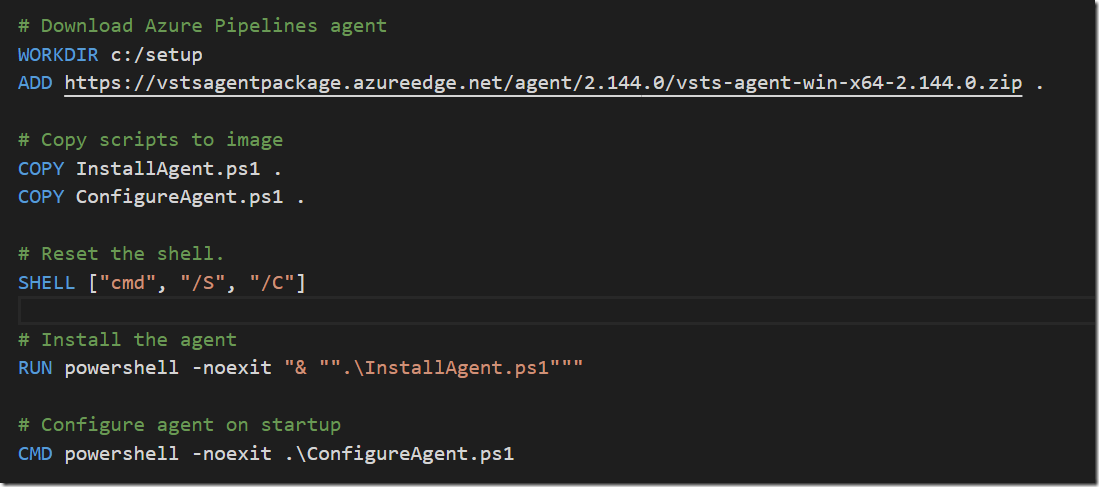Creating a Windows Container Build Agent for Azure Pipelines